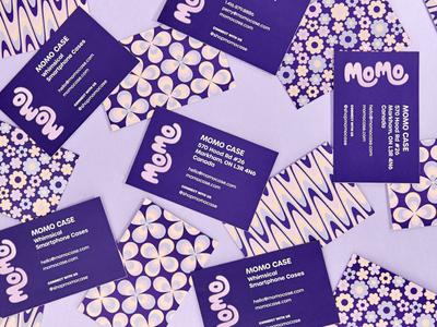 Momo Business Cards groovy uv business cards 70s pattern logo wordmark visual identity branding