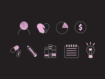 The Design Clinic Icons event learning education sketch hand drawn illustration icons