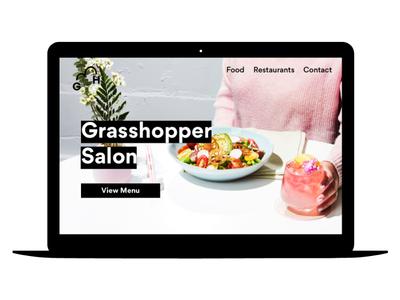 Grasshopper Website modern clean photography minimal restaurant desktop creative direction website