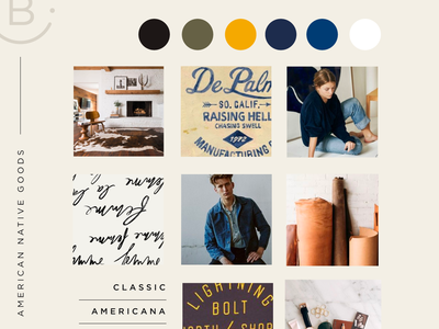 American Native Client Moodboard lifestyle type leather brand branding client work client inspo inspiration color moodboard