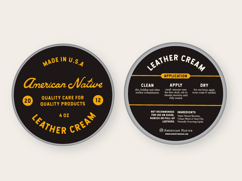 Leather Cream Packaging // 02 brand branding product branding leather typography ecommerce retail product design product design packaging