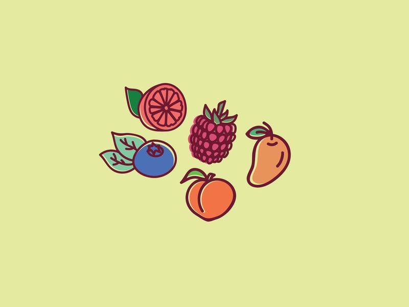 Fruit Icons food icon peach mango raspberry blueberry grapefruit fruit illustration illustration fruit icons fruit icon