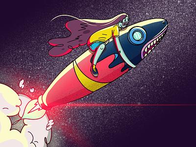 To The Moon moon space ipad pro ipadproart procreate ilustracion adventure panamá fresh design illustration character animation