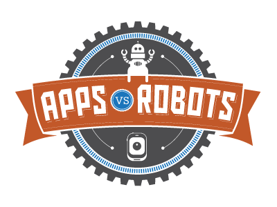 Apps vs Robots Logo apps app robots robot gear logo flat orange gray illustration cartoon retro