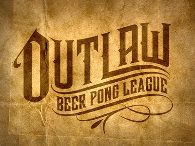 Outlaw Beer Pong Logo beer western outlaw cowboy retro rustic paper parchment