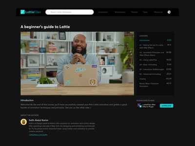 Course / Lessons interface website ui lottie lottiefiles darkmode dark lessons course courses
