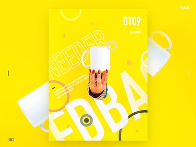 Day.358 P. | Feedback yellow text typegraphic plate poster photo exercise design format placeholder layout graphic character