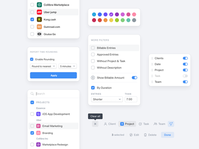 Tack: Filter Components filter drop timesheets projects clients swatches dropdown filter time tracker timetracking tack ux ui