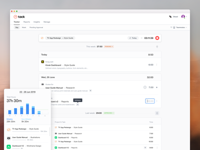 Tack: Daily Tracker ui ux clean weekly summary timer expanded collapsed time tracking software time app projects time sheet time tracking tracker