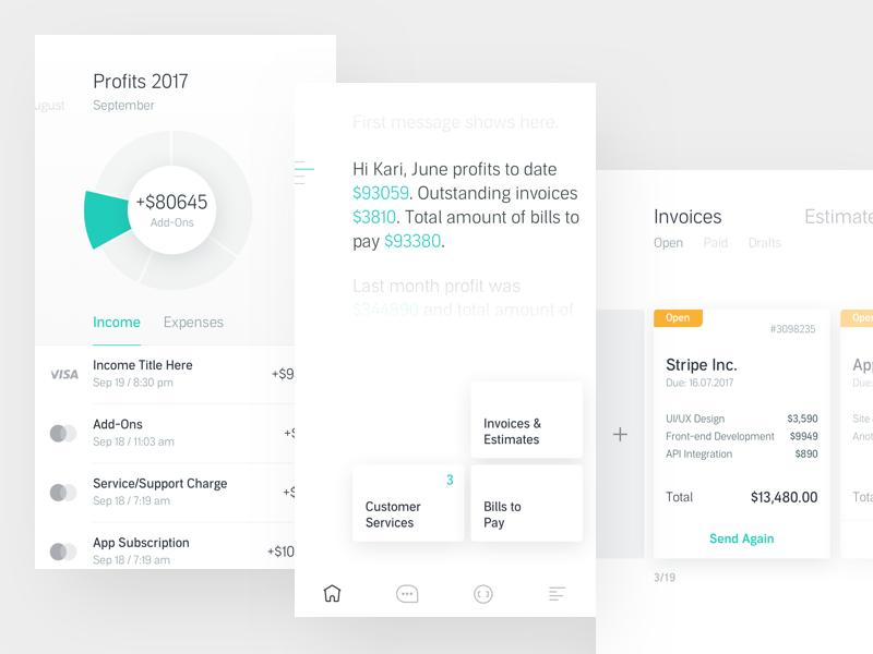 Koodaa Mobile App dashboard chart ios bookkeeping cash finance payment clean invoice