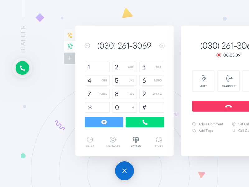 ServiceFusion - Dialler clean ux ui chat messages contacts calls keypad calling phone dialler