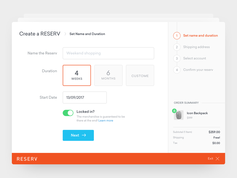 Reserv - Payment Flow modal clean ux ui payment flow payment online store shopping cart e-commerce