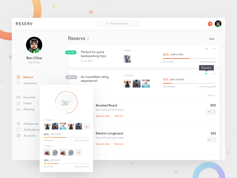 Reserv - Dashboard ux ui dashboard profile chart shopping payment online store e-commerce clean cart