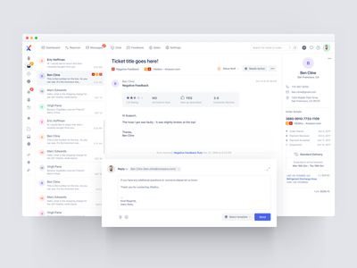 Xsellco - Support, Feedback and Pricing profile email tickets clean ux help desk e-commerce feedback 3 column dashboard ui support