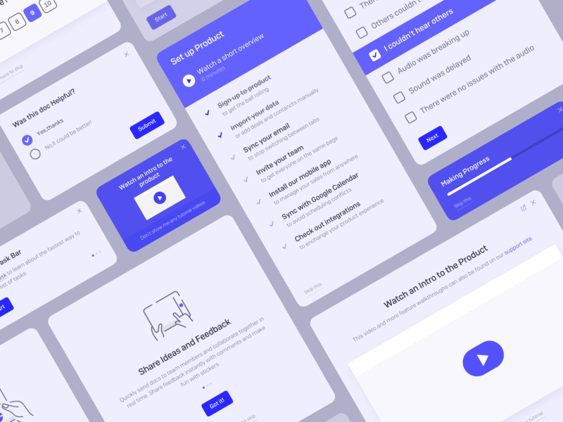 Onboarding, NPS Surveys and Feature Announcements ui kit form modal box ui elements ui pack dashboard tooltips checklist modal feedback walkthroughs user onboarding announcement surveys nps onboarding