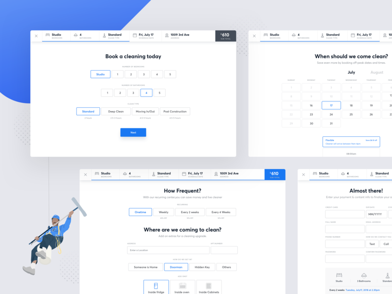 Cleaning App - Booking Flow ui ux clean flow steps calendar forms booking cleaning