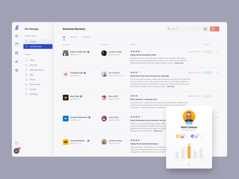 Manage Reviews commenting ux ui comments user profile user card dashboard review manage
