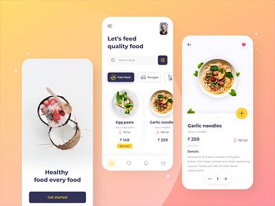 Food Ordering app concept design app online shop minimalart uiux ui minimal food illustration foodordering food app food