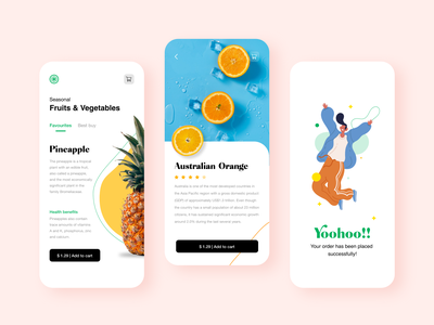 Fruits Delivery App typography visual designs interactions vector art minimal illustration uidesign ui uiux visualdesign mobileapp fruitsapp fruits