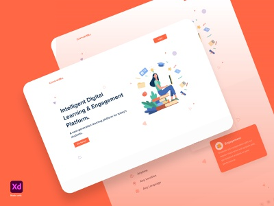 Edutech Web Landing Page - Concept art colorful visual designs typography designs education edutech illustration design xd design adobexd clean ui minimal