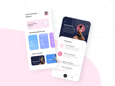 Yoga and Meditation App visual designs cleanui meditation yoga branding interactions uiux ux vector illustration design minimalism minimal