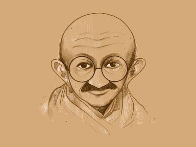 Gandhi vector indian minimal flat illustration gandhi freedom india procreate ipadart design artist artworks art minimalart visual designs illustation illustator