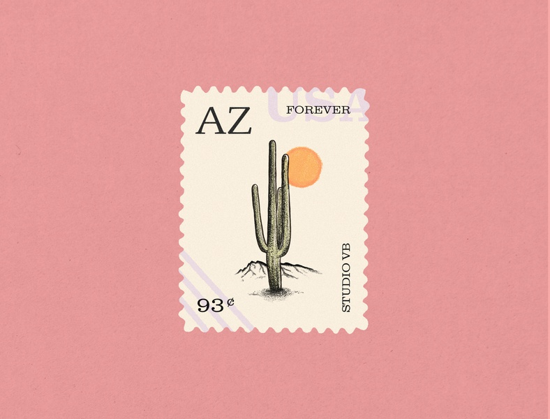 From Arizona With Love lettering graphic mountain drawing illustration procreate sun arizona cactus stamp sketch design artwork illustraion