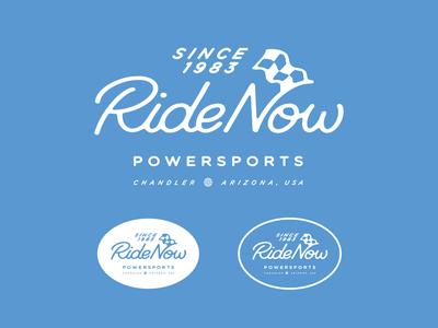 RideNow Version 2 white blue script flag race procreate lettering typography branding arizona illustration design