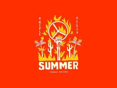 Triple Digit Summer hot design lettering illustration cactus tree palm bones skull flames heat arizona