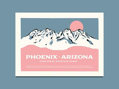 Four Peaks Wedding Invitation mountain peaks four desert arizona illustration design