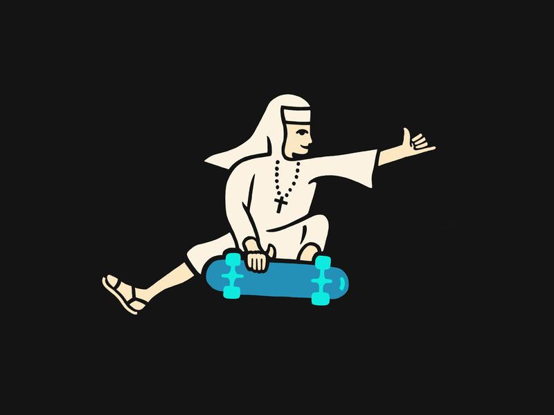 Shred It Sister art illustration artwork nun design drawing skateboard skate