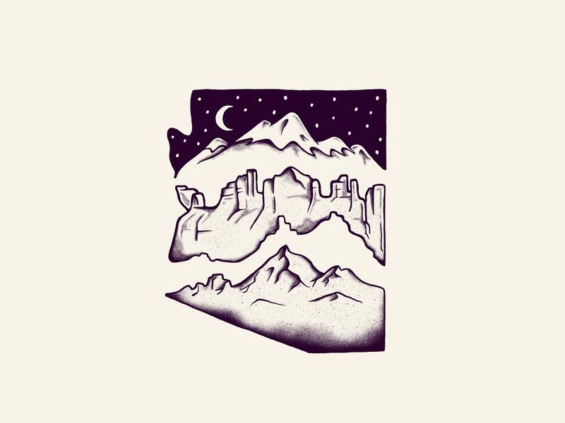 Arizona artwork design graphic outdoors poster digital drawing mountain arizona art illustraion