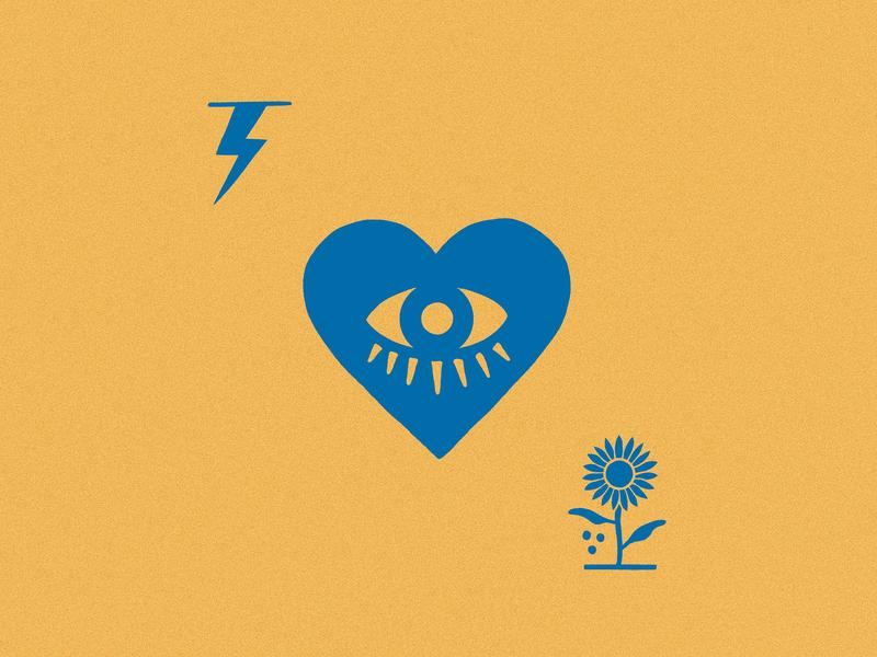 Eye of my Heart heart lightning sunflower flower eye graphic digital sketch drawing art artwork design illustration