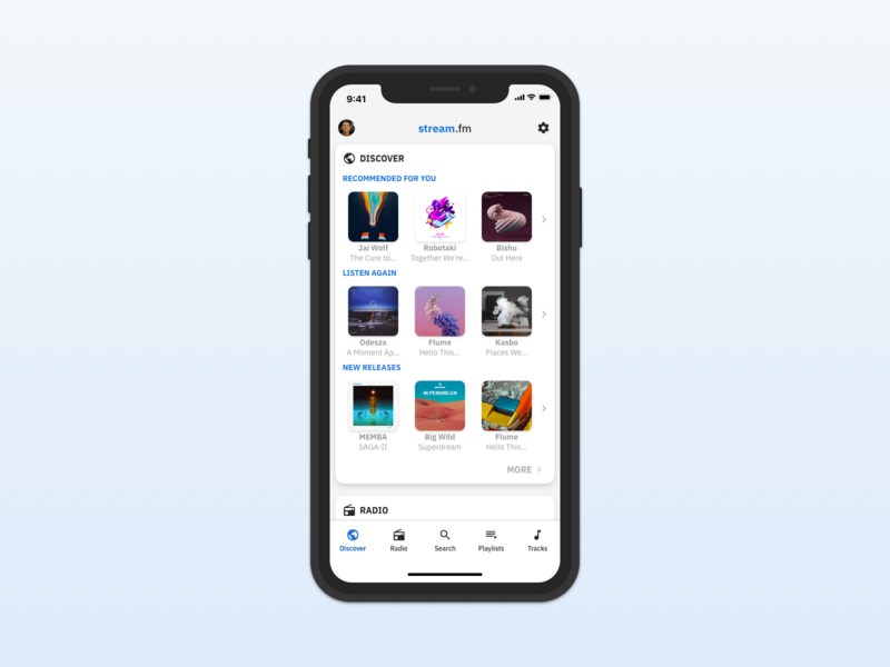 Scroll Music App - Discover View ux scroll mobile app spotify discovery music product design mobile ui design