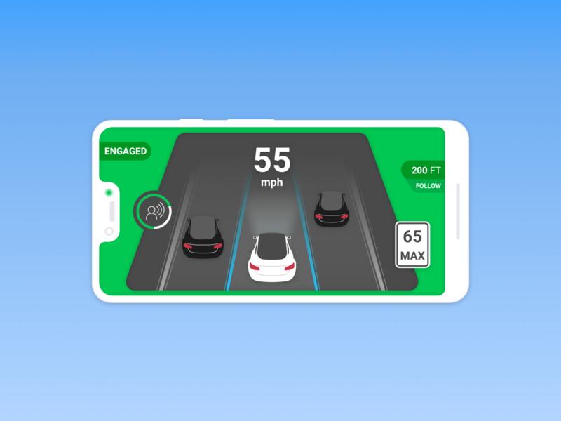 Driver assist heads-up display illustration product design ui driverless car automotive auto comma.ai self-driving driver assist open pilot auto pilot tesla
