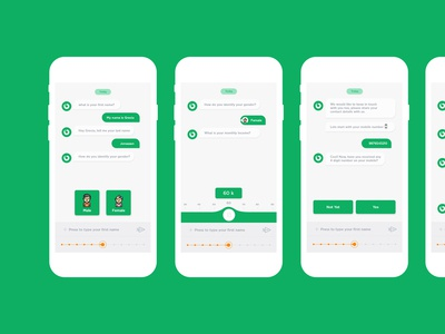 Chat-bot mock-up design ui and process flow