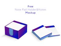 Free Note Pad Holder&Notes Mockup