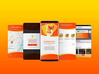 Mobile app Kunderkarte mobile app start screen