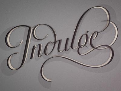 Indulge lettering typography script type 3d flourish ornate
