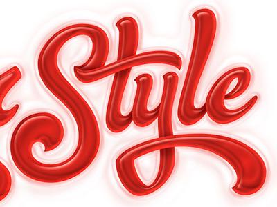 Glossy script script lettering typography fluid brush glossy type