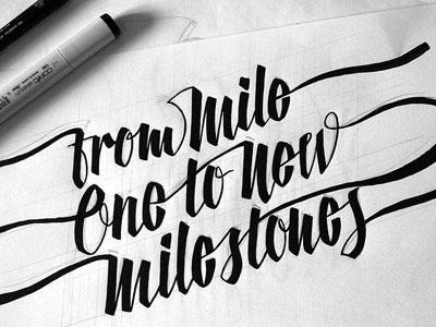 Milestones lettering typography