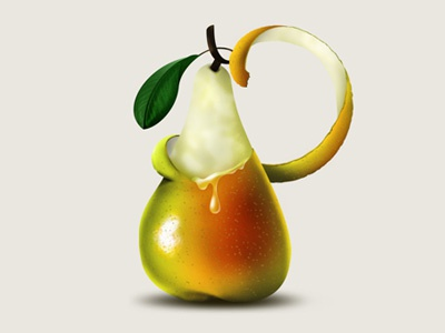 Pear typography lettering illustration