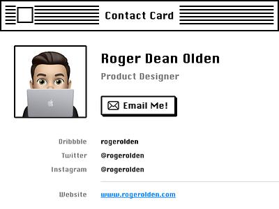 Contact Card retro card contact