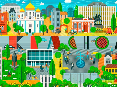 Illustrations for MegaFon Office city краснодар мегафон megafon people creative color type characters flat 2d