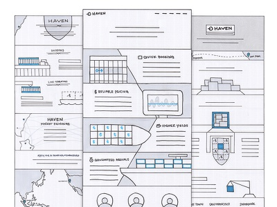 Haven Sketches sketches sketch concepts web marketing single-page boat map form