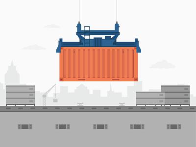 Haven Illustrations illustration orange blue clouds skyline container box ship boat anchor crane nautical