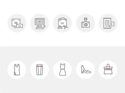 Union & Fifth Illustrations illustrations icons clothing shoes camera computer envelope circles skirt dress purse shirt