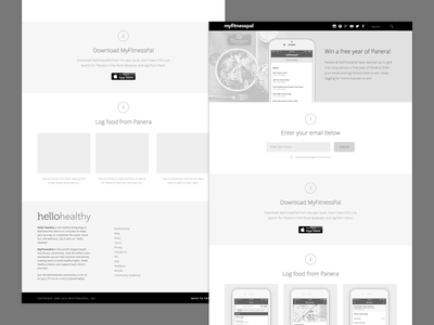 Panera Partnership Wires grayscale bw black and white web page web contest sweepstakes nutrition landing page wires wireframe food