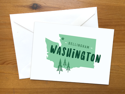 Hometown Homage city typography handdrawn green vector illustration star tree trees state card