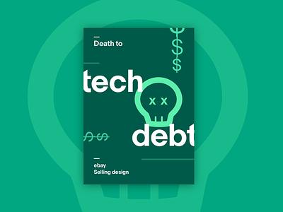 Ebay Poster #2 - Death to Tech Debt mint neon green monochromatic poster illustration icon skull